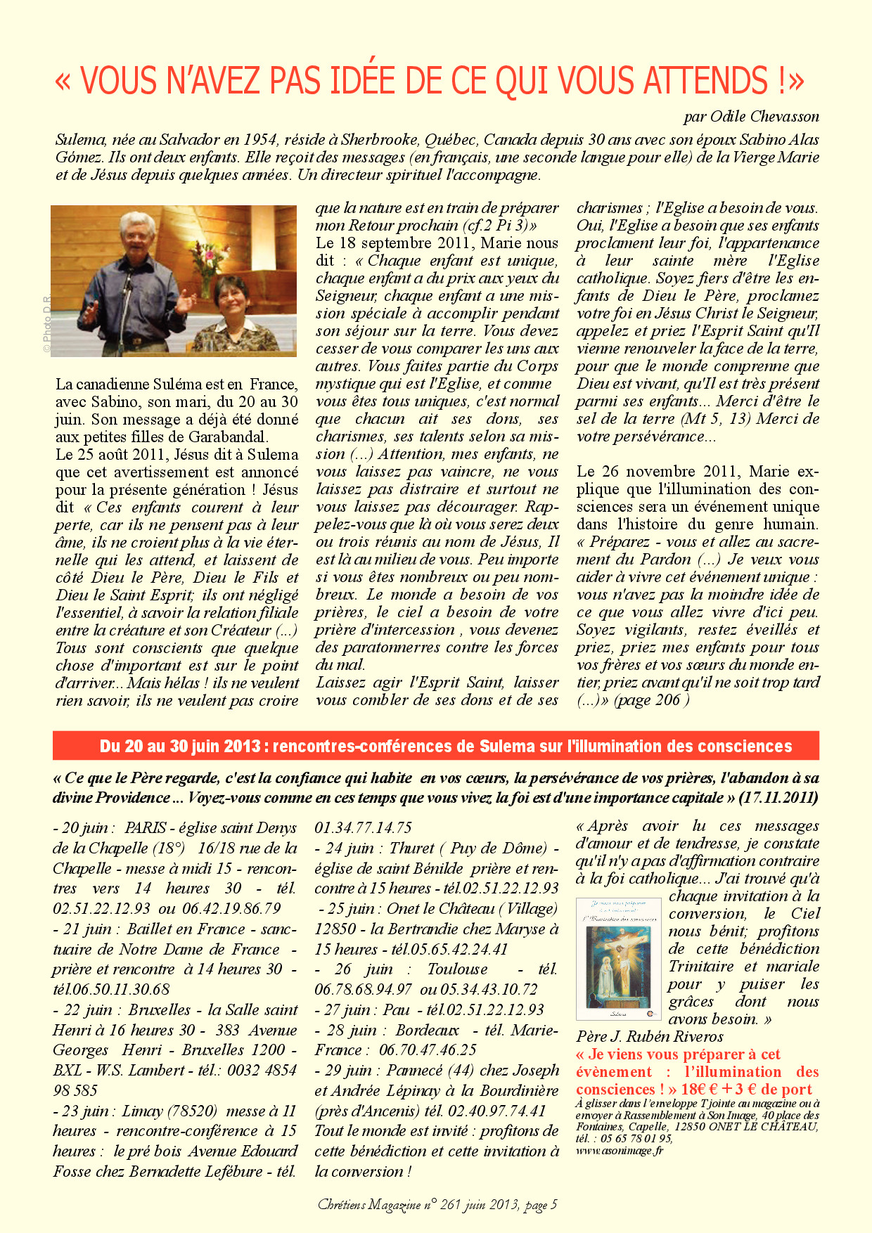 Juin 2013, Chrétien Magazine- Sulema